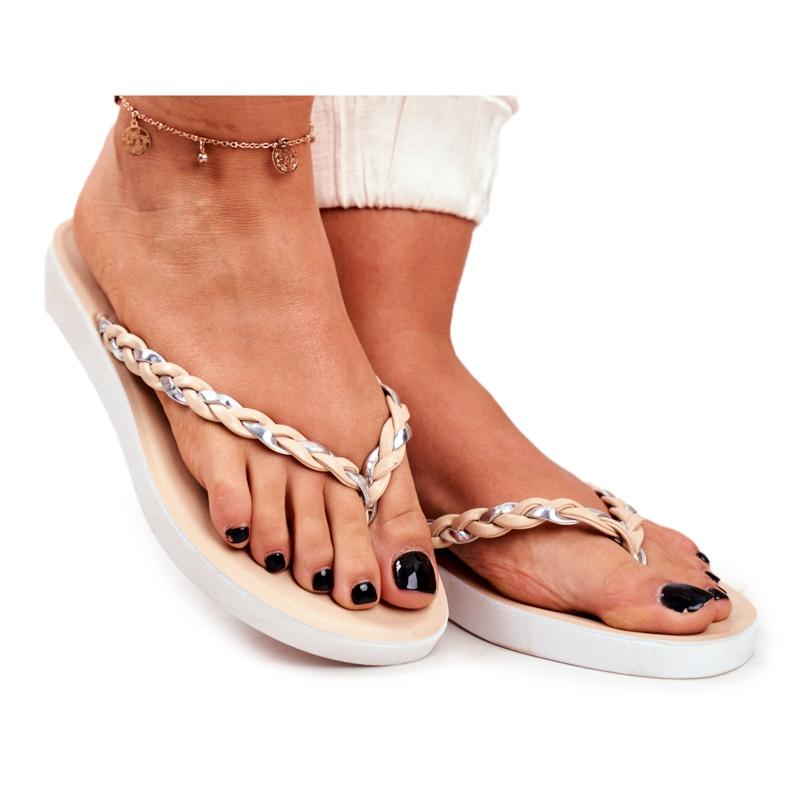 SEA Women's Slippers Flip-flops Braided Belt Beige Peggie brown