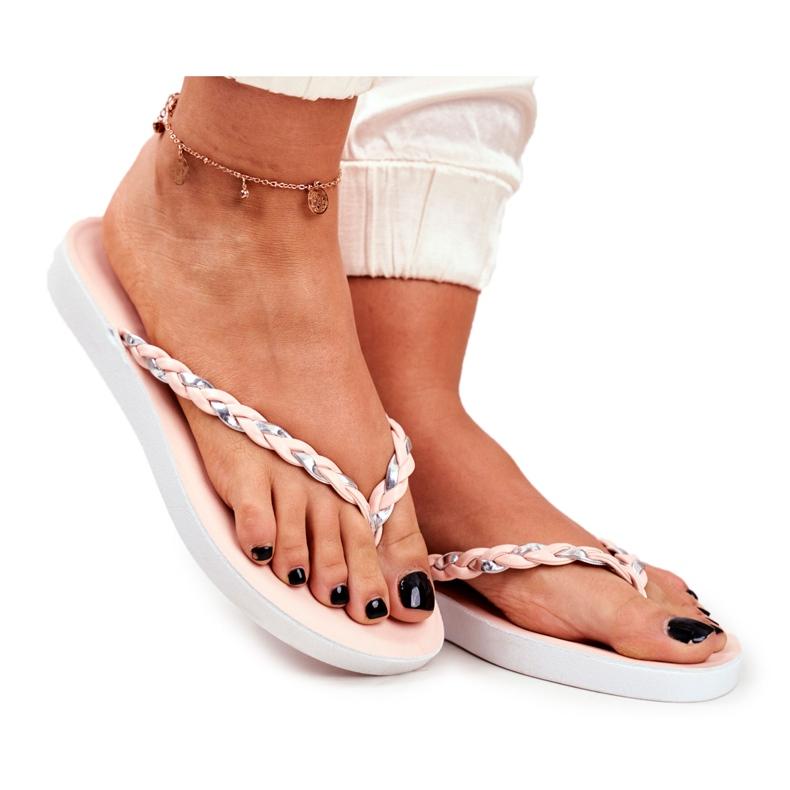 SEA Women's Slippers Flip-flops Braided Belt Pink Peggie