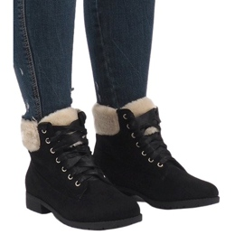 Black insulated lace-up boots C-7100