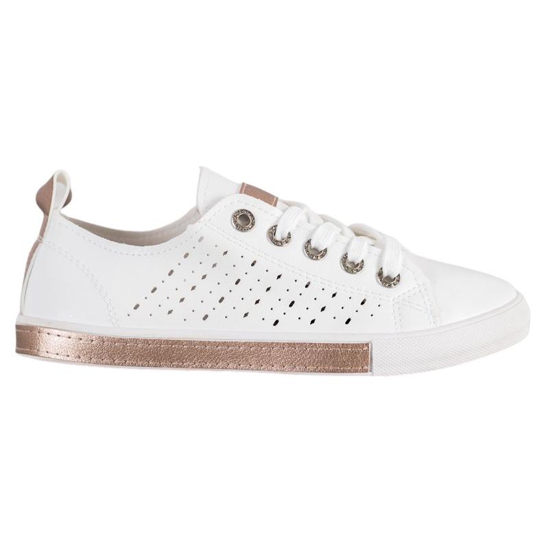 Bella Paris Sneakers With Openwork Pattern white