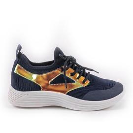 Navy blue HB-42 sports shoes golden