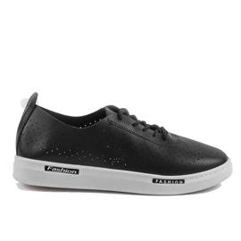 Black QW8368-1 openwork sport sneakers