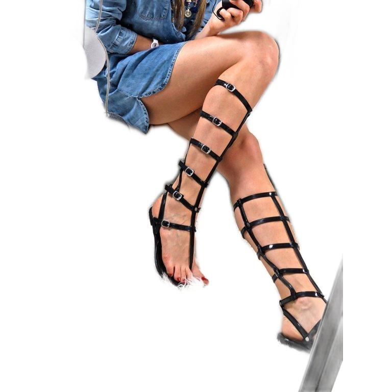Lu Boo Black Sandals High Romans Japanese Harona