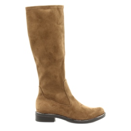 Women's Caprice 25512 cognac stretch boots brown