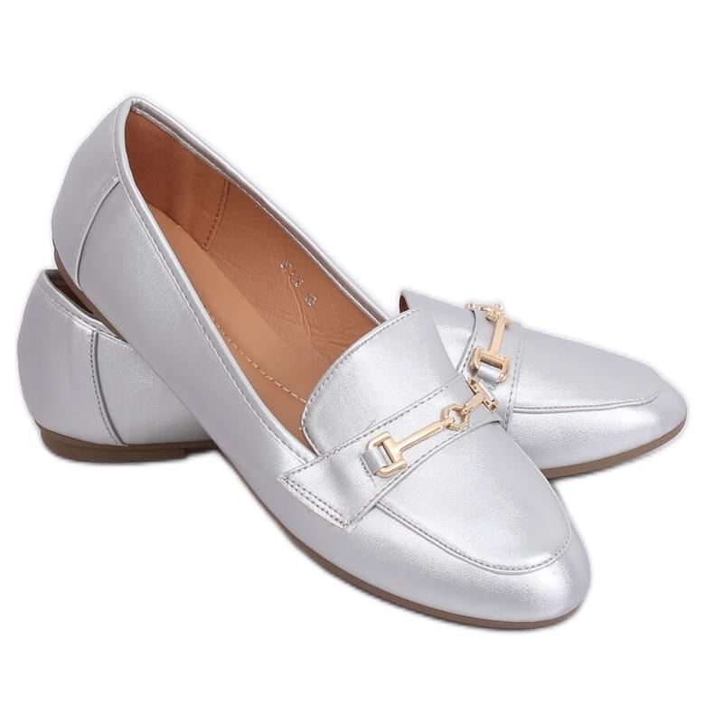 Silver metallic loafers 9F176 Silver grey