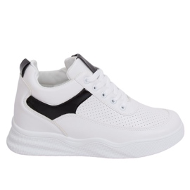 White sports shoes with wedges 85-429 WHITE / BLACK