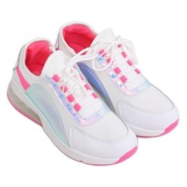 White women's sports shoes F-3336 WHITE / FUSHIA pink