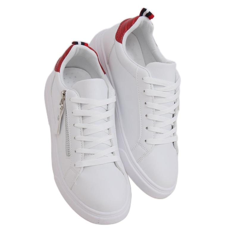 White women's sneakers KK-206 WHITE / RED