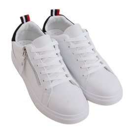 White women's sneakers KK-206 WHITE / BLACK