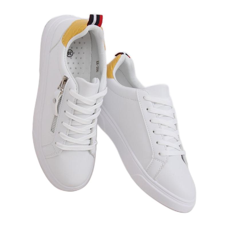 White women's sneakers KK-206 WHITE / YELLOW
