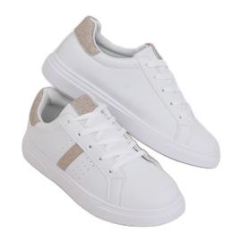 White women's sneakers C941 Gold golden
