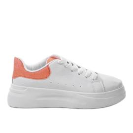White shiny sneakers LLQ204-3 orange