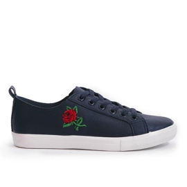 Navy blue sneakers with a flower 1727-02
