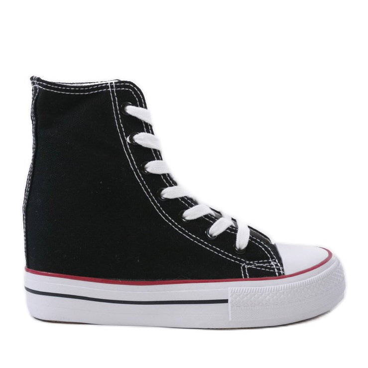 Black sneakers with lace-up wedges B706-1