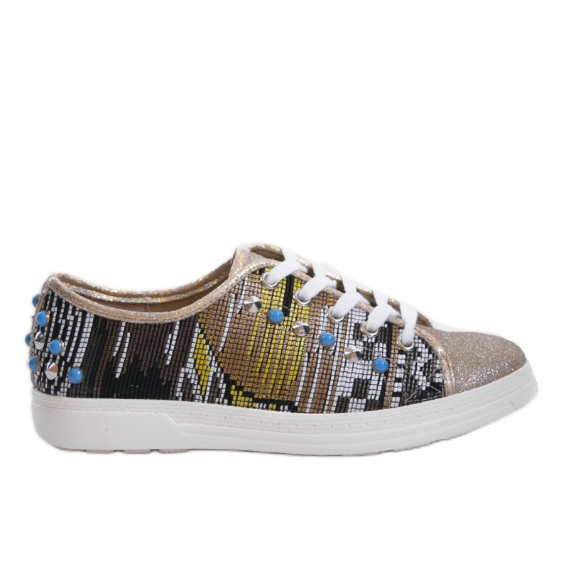 Golden sneakers richly decorated C17-3997 multicolored yellow