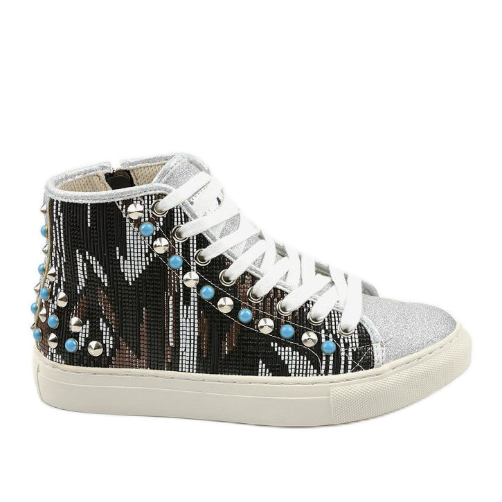 Silver high sneakers richly decorated D17-27027 grey multicolored