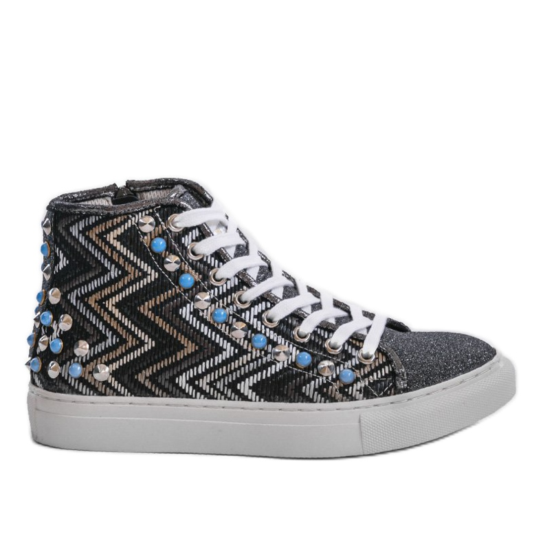 Black high sneakers richly decorated D17-27027 multicolored