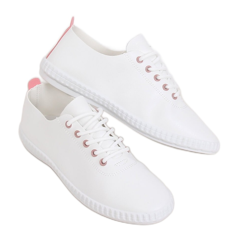 Women's white and pink sneakers 6165 Pink