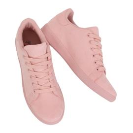 Women's pink suede sneakers 6301 Pink
