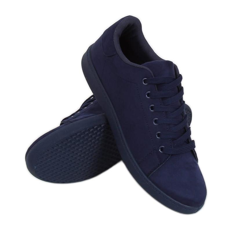 Navy blue suede women's sneakers 6301