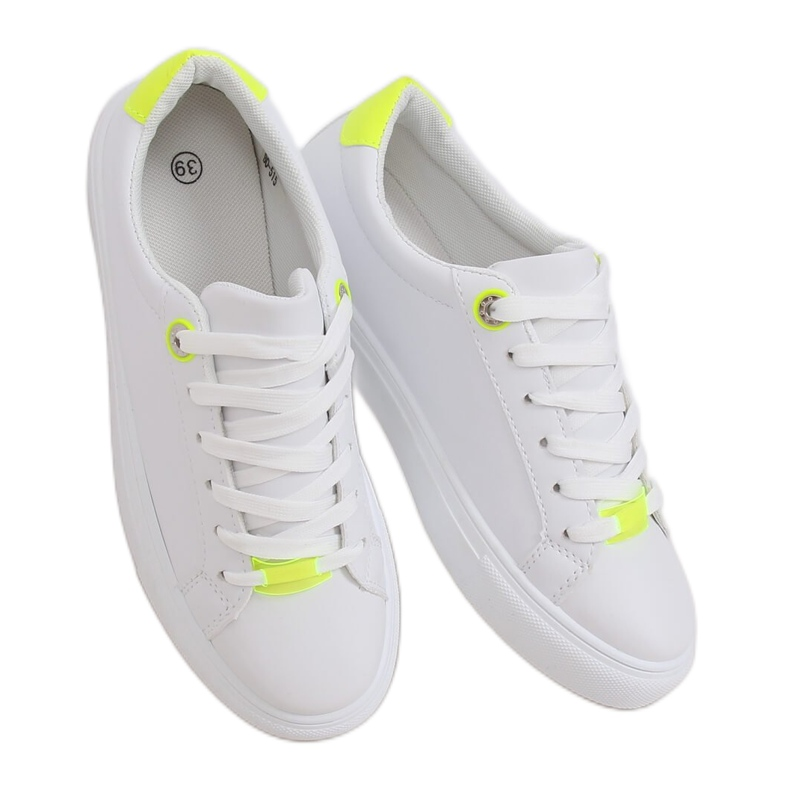 White women's sneakers B0-515 WHITE / YELLOW