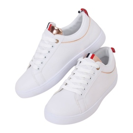White women's sneakers B0-501 WHITE / CHAMPAGNE