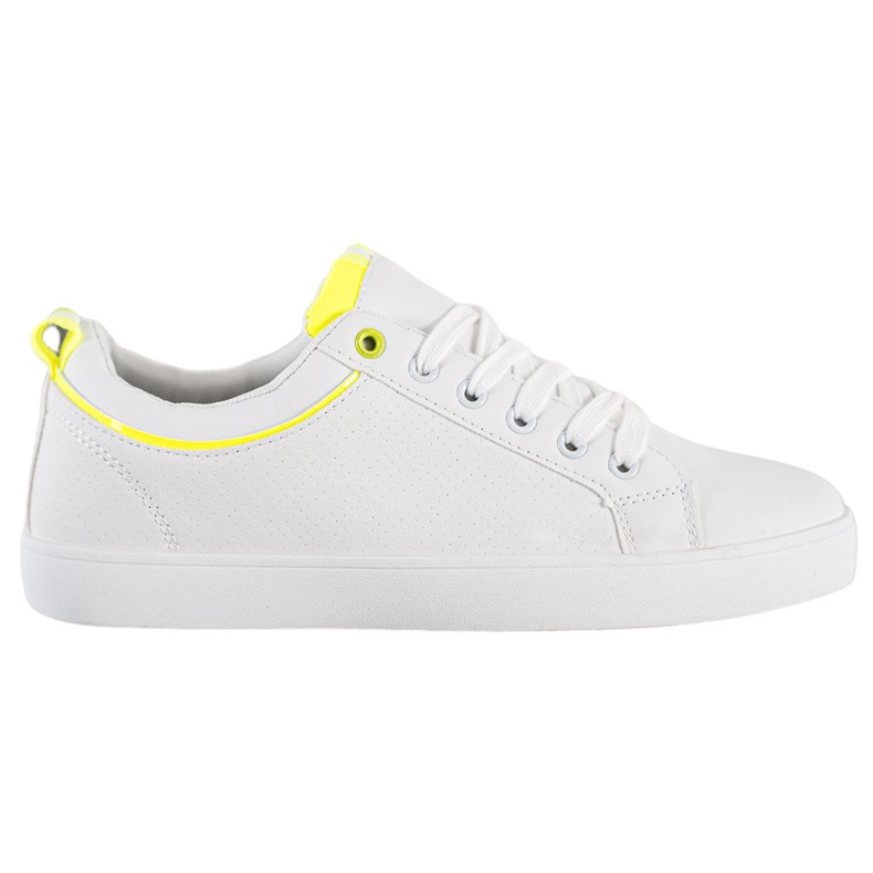 SHELOVET Stylish Sneakers With Eco Leather white yellow
