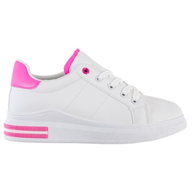 SHELOVET Fashionable Tied Sneakers white pink