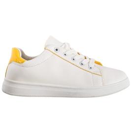 SHELOVET Classic Sport Shoes white yellow