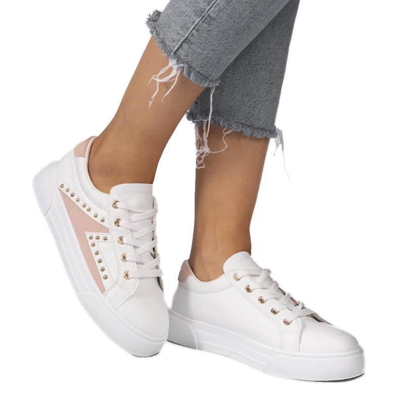 White classic sneakers with rhinestones A88-69 pink