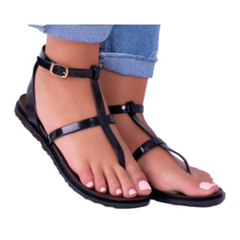 Lu Boo Roman Sandals Japanese Lento Black