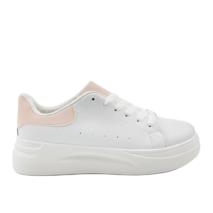 White sneakers with eco-leather LLQ204-11 pink
