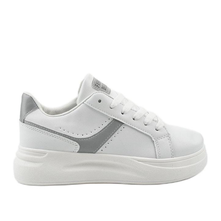 White eco-leather sneakers LLQ206-26 grey