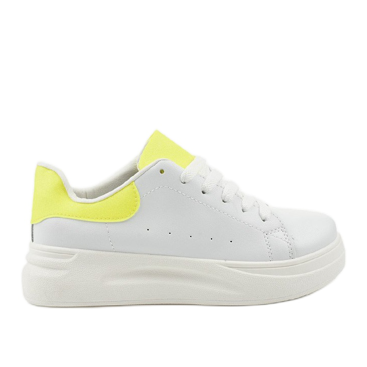 White shiny sneakers LLQ204-10 yellow