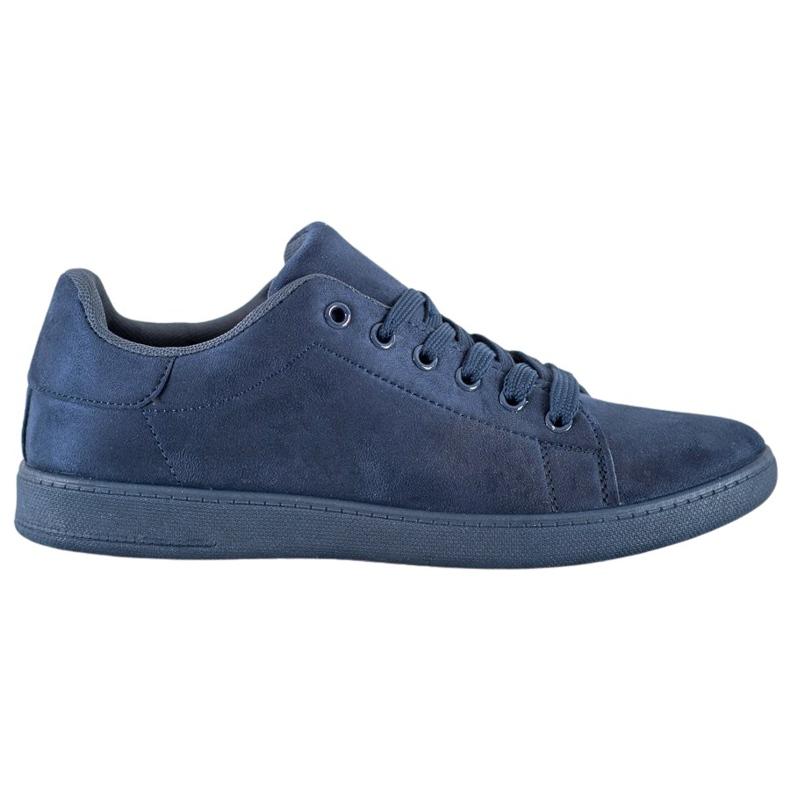 SHELOVET Navy blue suede sneakers