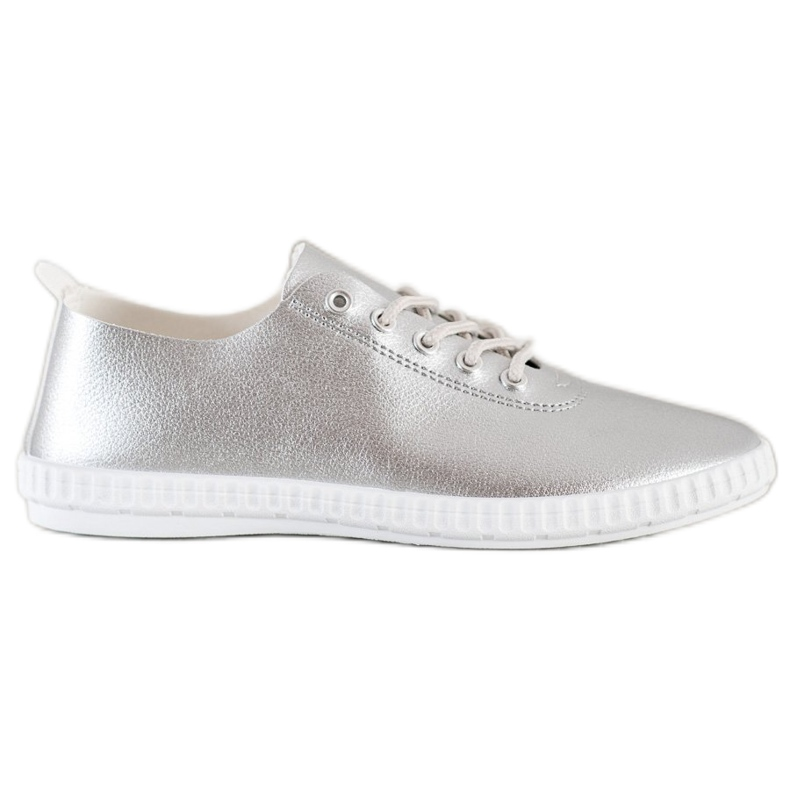 SHELOVET Silver Sneakers With Eco Leather
