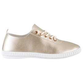 SHELOVET Golden Sneakers With Eco Leather