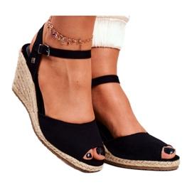 Women's Sandals On A Braided Wedge Big Star Black DD274A209