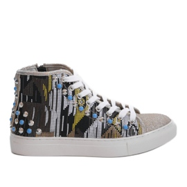 Golden high sneakers richly decorated D17-27027 grey multicolored
