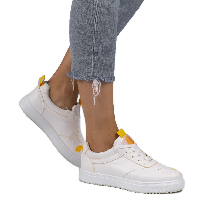White sneakers with yellow inserts KK-203