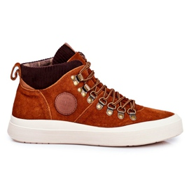 Men's Leather Sneakers Big Star Camel GG174332 brown multicolored