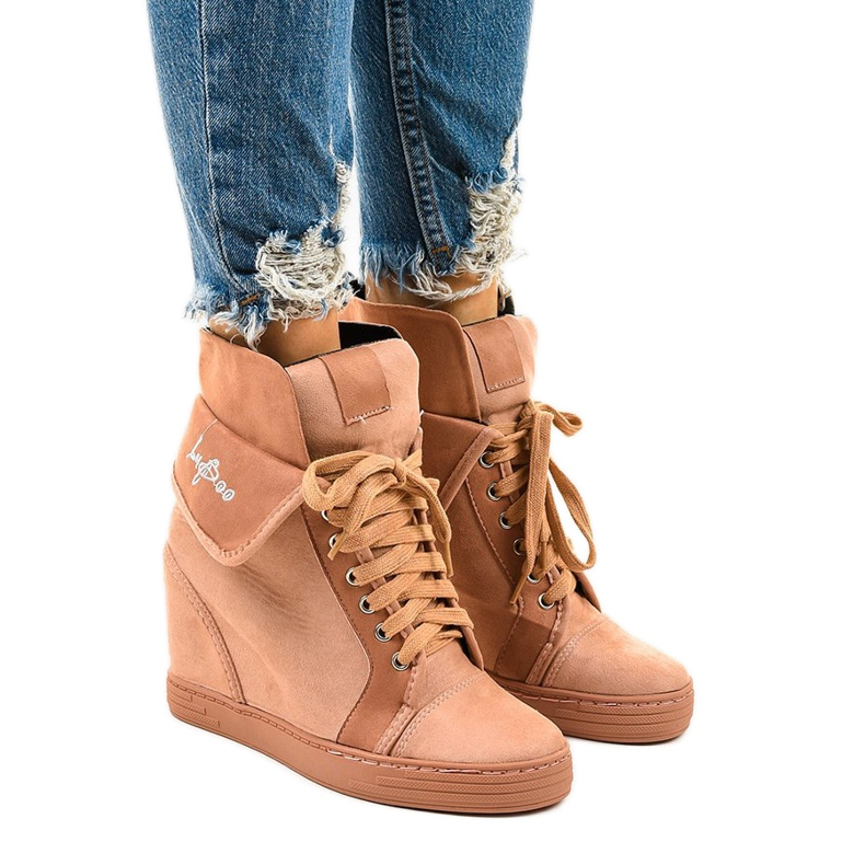 Pink sneakers with lace-up wedges B12-22