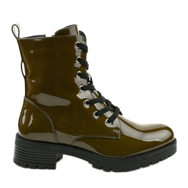 Green lacquered Slider boots