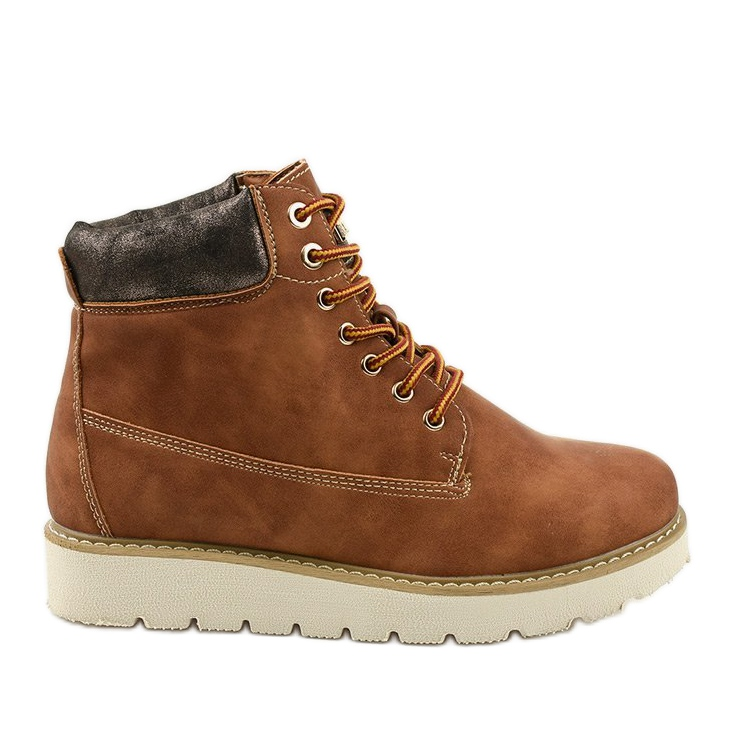 Camel lace-up boots Haireino brown