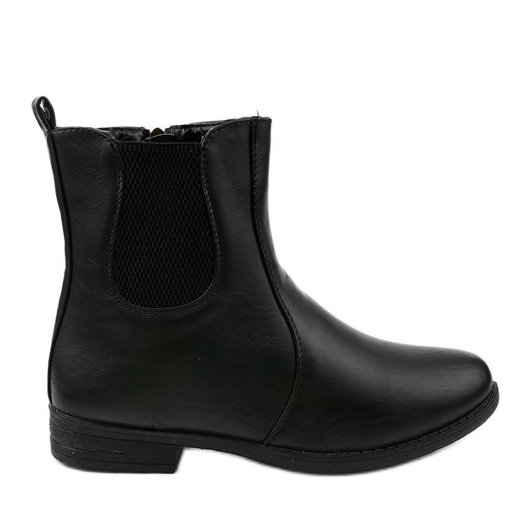 Black flat ankle boots with an elastic band and Trini zipper