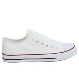 White classic women's sneakers JD05P WHITE / RED