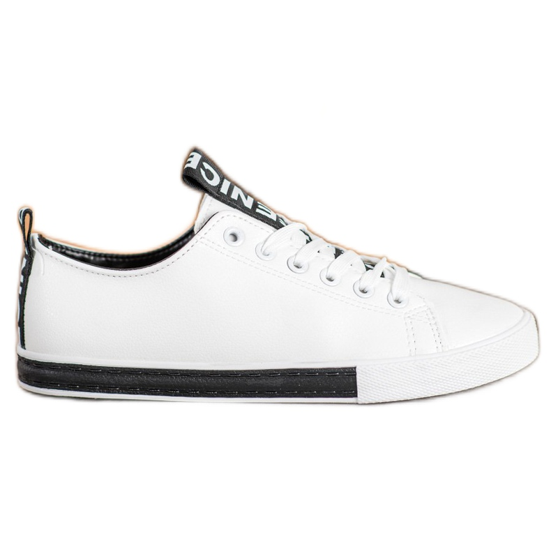 SHELOVET Eco Leather Sneakers white black