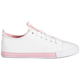 SHELOVET Eco Leather Sneakers white pink