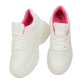 High sole white LA78P Fushia sports shoes pink