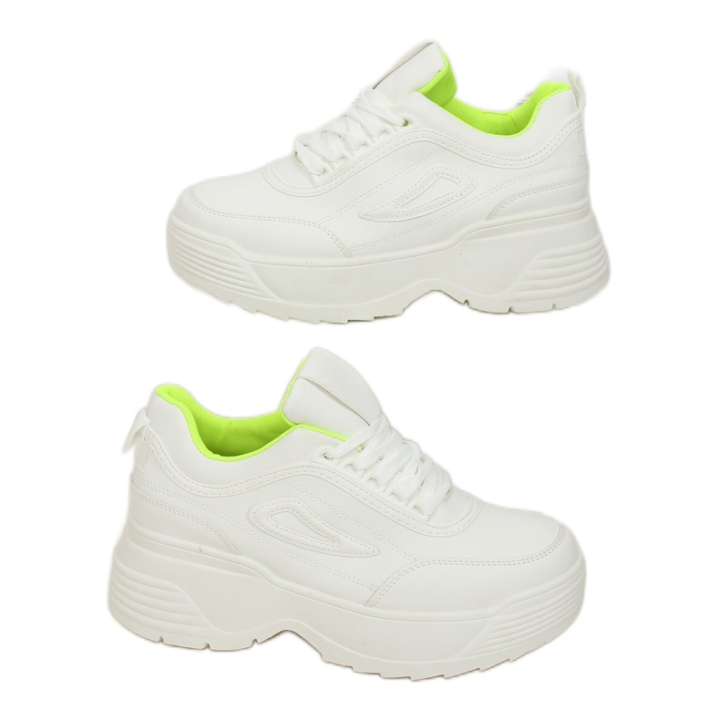 White LA78P Yellow high sole sports shoes